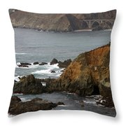 Highway One Bixby Bridge Watercolor Throw Pillow by Barbara Snyder
