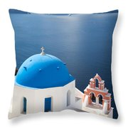 Iconic blue domed churches in Oia Santorini Greece Throw Pillow by Matteo Colombo