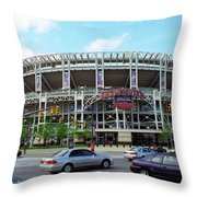Jacobs Field - Cleveland Indians Throw Pillow by Frank Romeo
