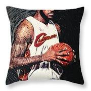 LeBron james Throw Pillow by Taylan Soyturk