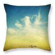 lonely seagull Throw Pillow by Setsiri Silapasuwanchai