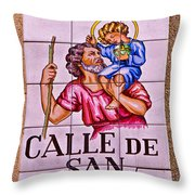Madrid Street Sign Throw Pillow by David Pringle