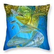 Mahi Mahi Hunting In Sargassum Throw Pillow by Terry  Fox