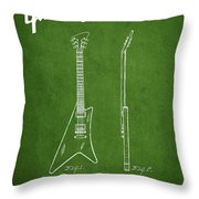 McCarty Gibson stringed instrument patent Drawing from 1958 - Green Throw Pillow by Aged Pixel