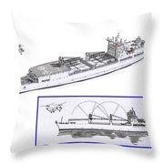 Merchant Marine Conceptual Drawing Throw Pillow by Jack Pumphrey