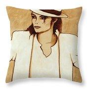 Michael Jackson Original Coffee Painting Throw Pillow by Georgeta  Blanaru