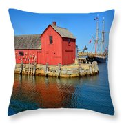 Motif Number One Rockport Lobster Shack Maritime Throw Pillow by Jon Holiday