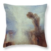 Neapolitan Fisher Girls Surprised Bathing By Moonlight Throw Pillow by Joseph Mallord William Turner