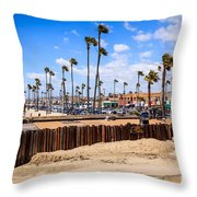 Newport Beach Dory Fishing Fleet Market Throw Pillow by Paul Velgos