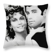 Olivia Newton John And John Travolta In Grease Collage Throw Pillow by Tony Rubino