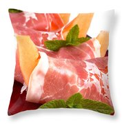 Parma Ham And Melon Throw Pillow by Jane Rix