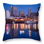 Peoria Illinois Skyline At Night Throw Pillow by Paul Velgos