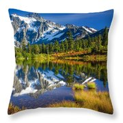 Picture Lake Throw Pillow by Inge Johnsson