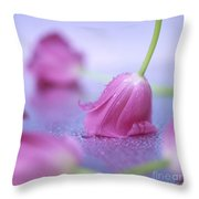 Pink Tulips Throw Pillow by Bernard Jaubert