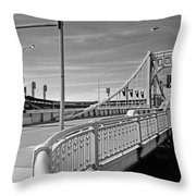 Pittsburgh - Roberto Clemente Bridge Throw Pillow by Frank Romeo