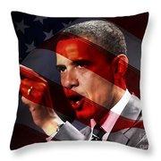President Barack Obama Throw Pillow by Marvin Blaine