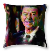 President Ronald Reagan Throw Pillow by Official White House Photograph