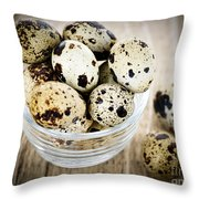 Quail Eggs Throw Pillow by Elena Elisseeva