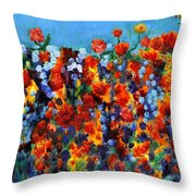 Red And Blue Throw Pillow by Regina Valluzzi