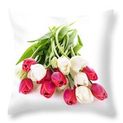 Red And White Tulips Throw Pillow by Elena Elisseeva