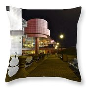 Rock N Roll Hall Of Fame Throw Pillow by Frozen in Time Fine Art Photography