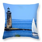 Sailing By Ram Island Light Throw Pillow by Nancy Patterson