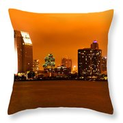 San Diego Skyline At Night Throw Pillow by Paul Velgos