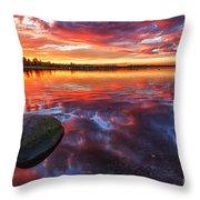 Scottish Loch at Sunset Throw Pillow by John Farnan