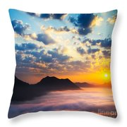 Sea Of Clouds On Sunrise With Ray Lighting Throw Pillow by Setsiri Silapasuwanchai