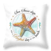 Sea Stars Align For A Perfect Day At The Beach Throw Pillow by Amy Kirkpatrick