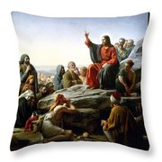 Sermon On The Mount Throw Pillow by Carl Bloch