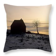 Silhouette Of A Farm And A Tree. Cezallier. Auvergne. France Throw Pillow by Bernard Jaubert