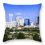 Skyline Of Uptown Charlotte North Carolina Throw Pillow by Alex Grichenko