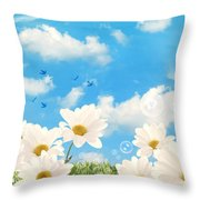 Summer Daisies Throw Pillow by Amanda Elwell