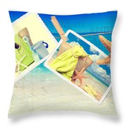 Summer Postcards Throw Pillow by Amanda Elwell