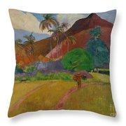 Tahitian Landscape Throw Pillow by Paul Gauguin