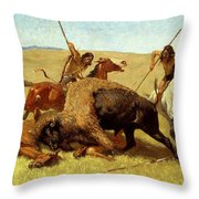 The Buffalo Hunt Throw Pillow by Frederic Remington