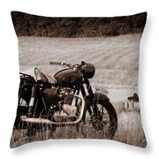 The Great Escape Motorcycle Throw Pillow by Mark Rogan