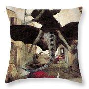 The Plague Throw Pillow by Arnold Bocklin