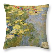 The Waterlily Pond Throw Pillow by Claude Monet