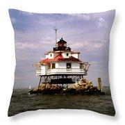 Thomas Point Shoal Lighthouse Throw Pillow by Skip Willits