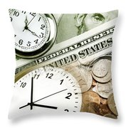 Time Is Money Concept Throw Pillow by Les Cunliffe