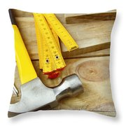 Tools Throw Pillow by Les Cunliffe