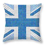 Union Jack Blue Throw Pillow by Jane Rix