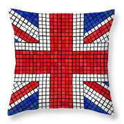 Union Jack Mosaic Throw Pillow by Jane Rix