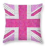 Union Jack pink Throw Pillow by Jane Rix