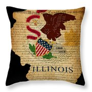 Usa American Illinois State Map Outline With Grunge Effect Flag  Throw Pillow by Matthew Gibson