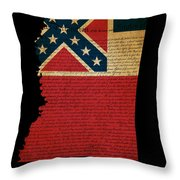 Usa American Mississippi State Map Outline With Grunge Effect Fl Throw Pillow by Matthew Gibson