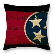 Usa American Tennessee State Map Outline With Grunge Effect Flag Throw Pillow by Matthew Gibson