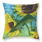 Vince's Sunflowers 1 Throw Pillow by Debbie DeWitt